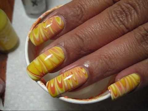 Candy Corn Water Marble Nail Art Tutorial