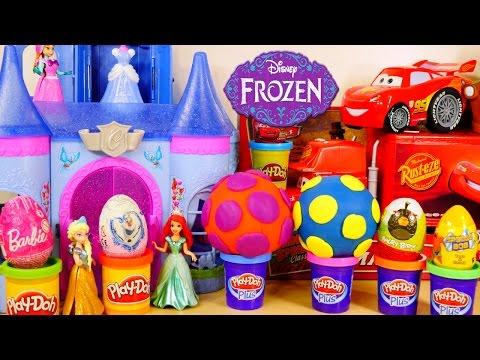 SURPRISE EGGS Disney Frozen Spongebob Cars Play Doh Barbie Angry Birds Toy Story Zaini Egg - matercarclub