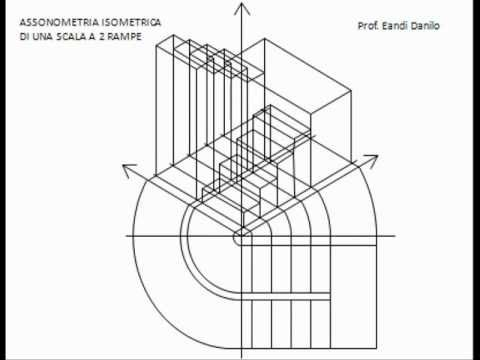 Assonometria isometrica scala a 2 rampe