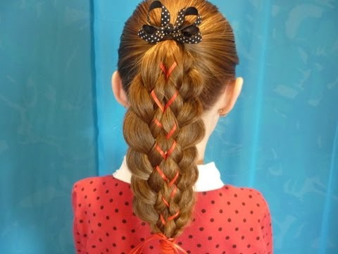 Illusion Braid With Ribbon, Hairstyles For Girls