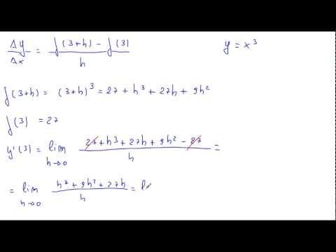 Calcolare il valore della derivata della funzione y = x³ nel punto x = 3 applicando la definizione