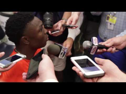 Auburn Quarterback John Franklin III gives a postgame interview following Auburn's 58-7 victory over ULM.