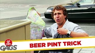 ビールが飛びすぎて奥の人に当たってこぼすいたずら