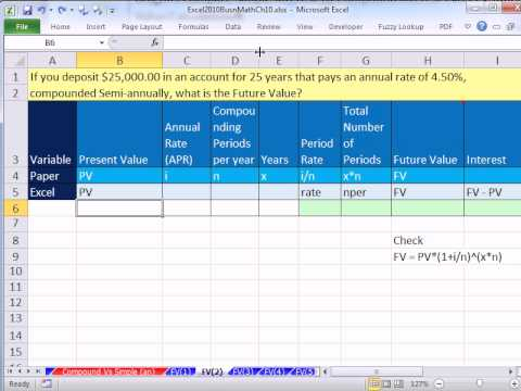 Excel 2010 Business Math 81: FV Function For Future Value Calculations 5 Examples