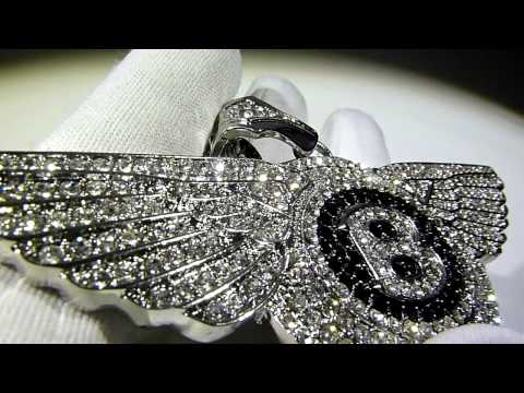 "$175 ""Flying B"" Bentley style Pendant and Cluster Chain/Necklace Lab Diamonds -Lab Made Jewelry"