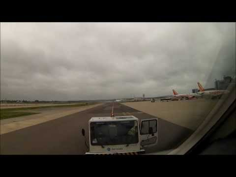 LONDON Pushback, startup, taxi and takeoff GoPro 3 in the Cockpit a view in the world of the Pilot