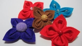 Tutorial: Flores de fieltro. Felt flowers.