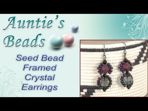 Karla Kam - Seed Bead Framed Crystal Earrings Rewind