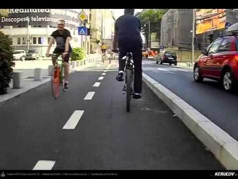VIDEOCLIP Cu bicicleta in Bucuresti - Pista de biciclete de pe Calea Victoriei