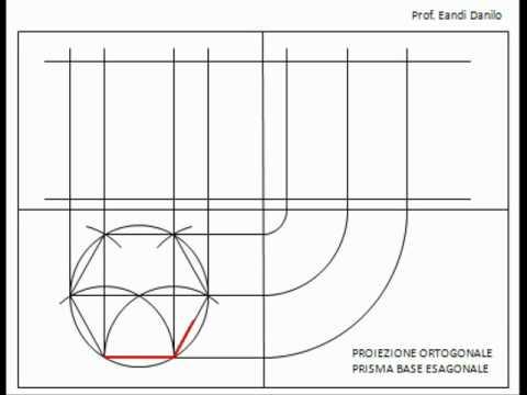 Proiezione ortogonale prisma base esagonale