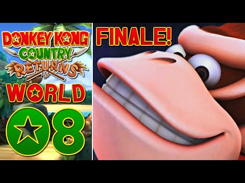 Donkey Kong Country Returns Wii (100%) - World 8 | Physics? (FINALE VS Tiki Tong!)