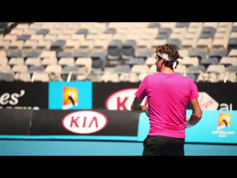 Roger Federer Hits With James Blake