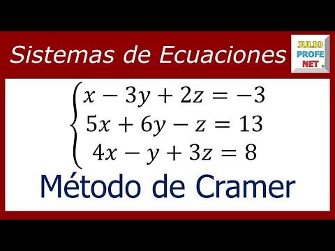 Sistema de 3x3 resuelto por Regla de Cramer