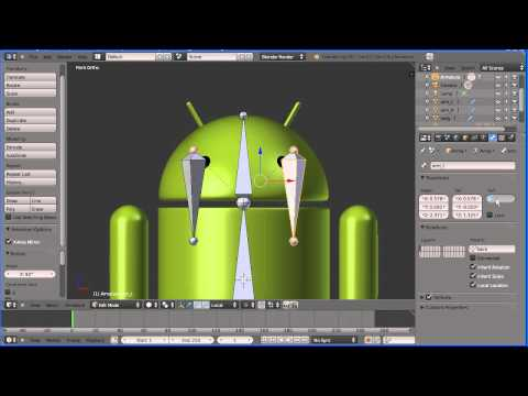 Blender 2.6 Introduction to Rigging - Adding an Armature to a Google Android (New Version)