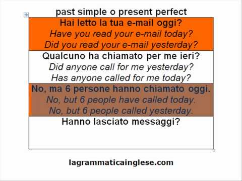 corso di inglese -past simple o present perfect-