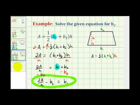 Examples 2:  Solving a Formula for a Variable