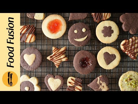 Assorted Cookies (Bakery style butter biscuits) Recipe by Food Fusion