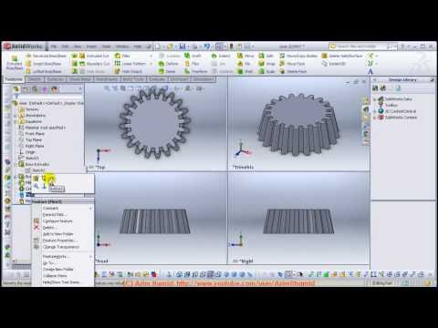 Solidworks 2011 - Tutorials - Flex feature to turn a spur gear into another Gear
