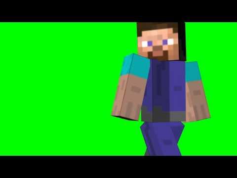 Minecraft Steve runs - green screen effects