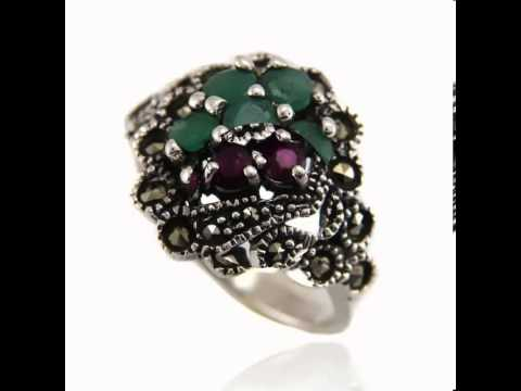 925 Sterling Silver Rings Ruby Emerald Sapphire Gemstone Beta Jewelry