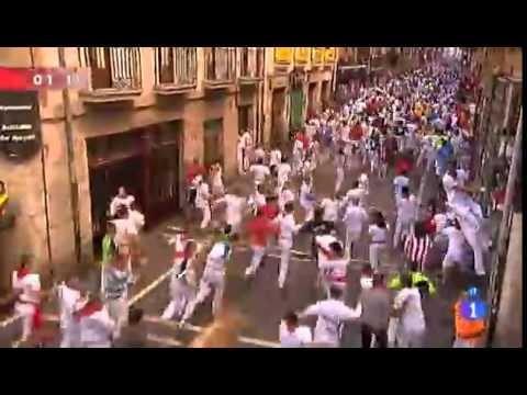 Séptimo Encierro de San Fermín día 13 julio  Sanfermínes Pamplona 2012  Crestomatía TVE 360p