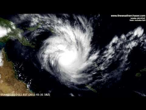 Satellite & Radar Timelapse - Tropical Cyclone Yasi (Update 10 - Final)