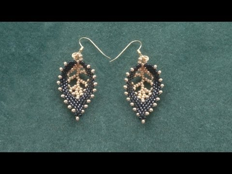 """Beading4perfectionists : Russian Leaf with a """"vein"""" done with seedbeads beading tutoriall"""