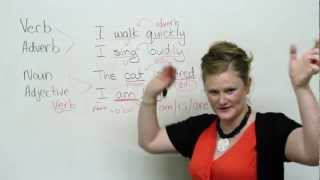 Noun, Verb, Adjective, Adverb, Basic English Grammar Video Lesson, engvid