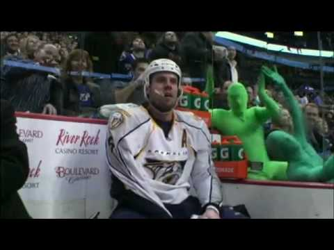 Vancouver Green Men in RootSuit style bodysuits - 2010 NHL Playoff Compilation 2