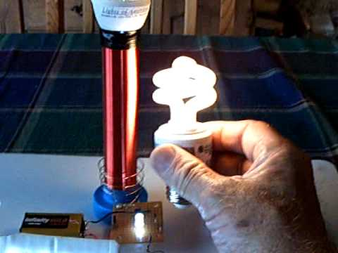 Mini Tesla coil with 110v LED bulb