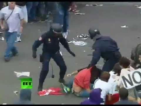 Riot Watch! - Madrid, Spain.  Protesters clash with riot police over austerity measures