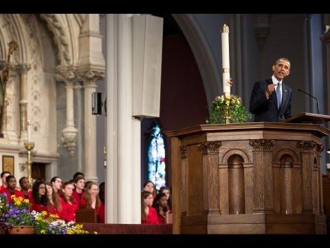 President Obama Speaks at an Interfaith Prayer Service in Boston