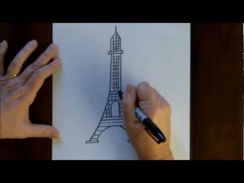 Free Drawing Lesson How to Draw the Eiffel Tower Easy Simple Drawing Tutorial Paris France
