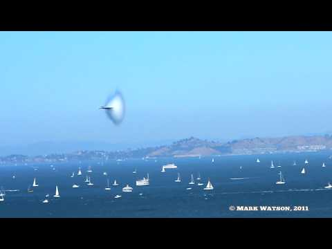 F-18 Demonstrator High Speed Pass in Slow Motion San Francisco Fleet Week 2011