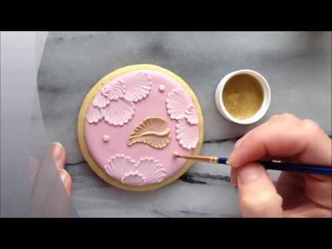 Painting With Luster Dust On Brush Embroidered Cookies