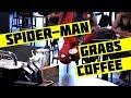 Spider-Man Grabs Coffee