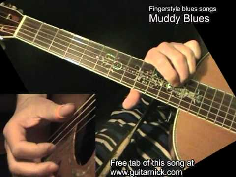 Muddy Blues - fingerstyle Blues song, acoustic guitar lesson & TAB! Learn how to play