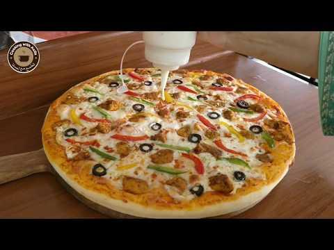 "Premium Quality Chicken Tikka Pizza Recipe - 34 cm =13""' incher Step by step Pizza baking Tutorial-"