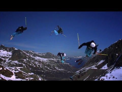 Трюки на лыжах в горах