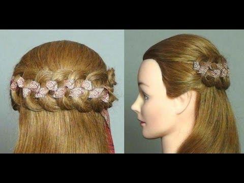 прическа коса с лентой фото