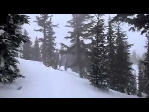 Skiing through the forrest in Mammoth mountain, California (2011)