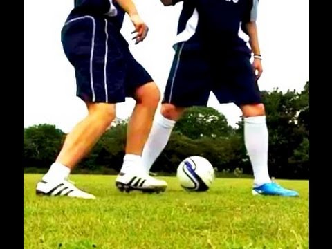 Learn football soccer skills - how to Panna nutmeg with player on your back