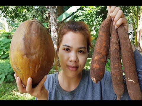Amazing cooking Cassava With Coconut recipe -Cassava Cake -How to Cook cassava -Village food factory