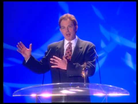 David Bowie wins Outstanding Contribution presented by Tony Blair | BRIT Awards 1996