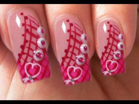 Valentine's Day Special 8/10 pink Acrylic Nail Art Step by Step