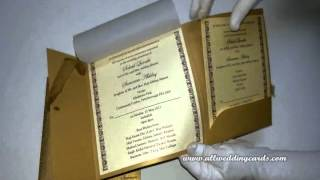 W-4363, Rust Gold Color, Shimmer Paper, Custom Wedding Invit...