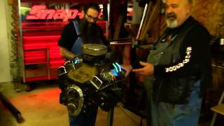 Neon spark plug wires on a V8 motor - YouTube