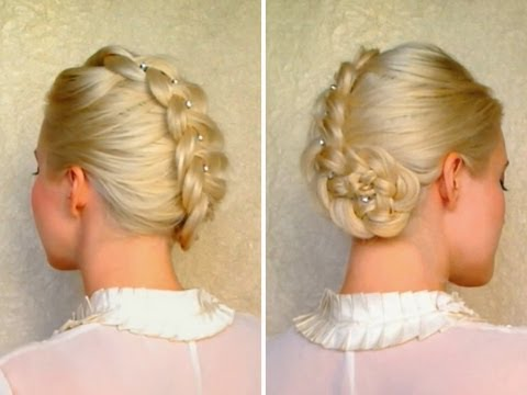 Dutch braided updo hairstyles for medium long hair tutorial Christmas glam holiday wedding winter
