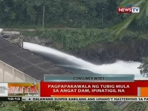 BT: Pagpapakawala ng tubig mula sa Angat Dam, ipinatigil na