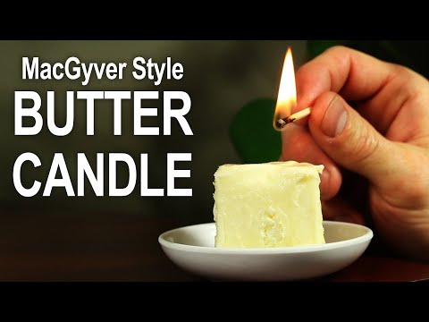 How To Make a Butter Candle - Emergency Candle McGyver Style!